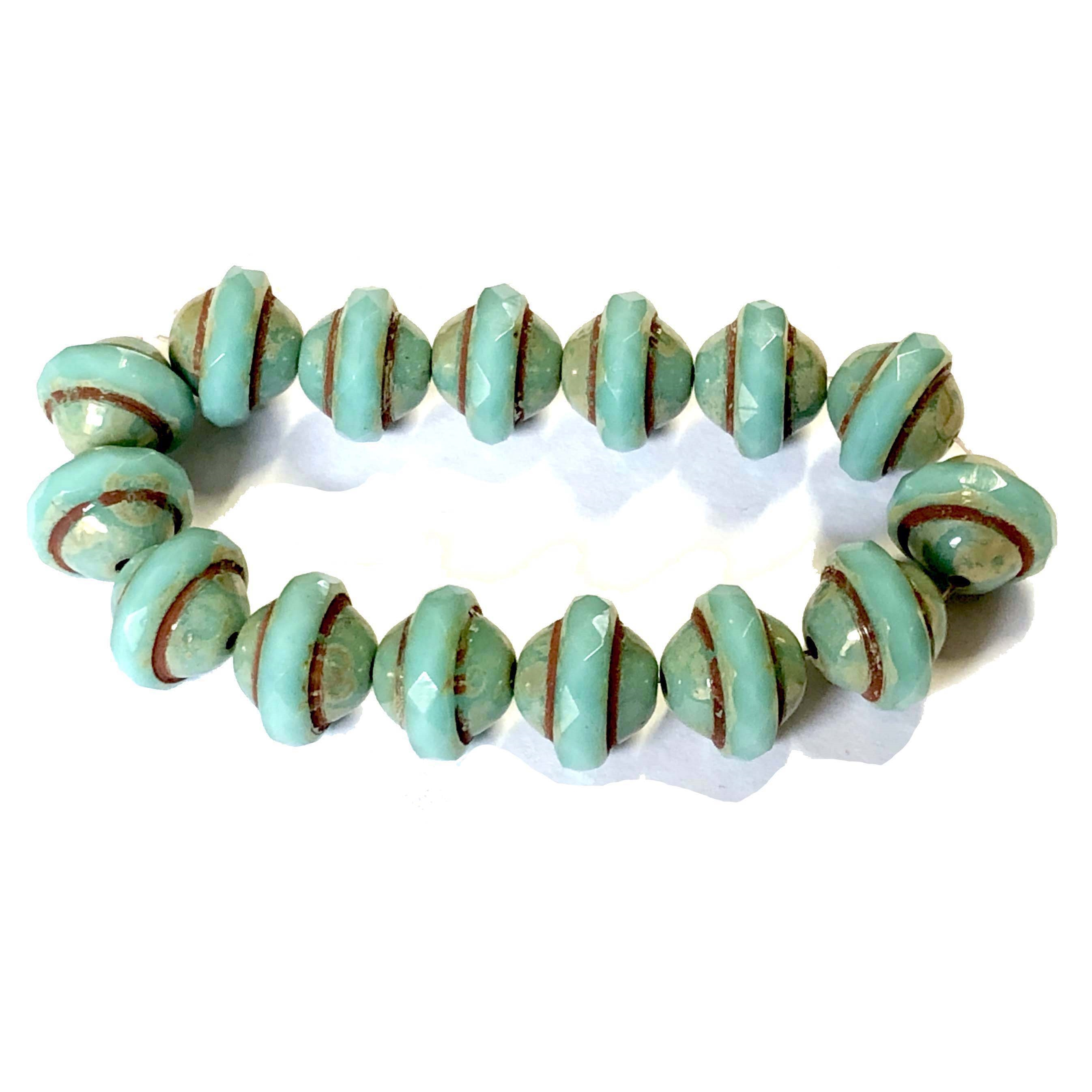 Saturn Tea Green Picasso finish beads, aqua green, turquoise, beads, Czech glass beads, saucer beads, fire polished, Czech, glass, Picasso, drilled, glass beads, US made, B'sue Boutiques, transparent beads, faceted beads, 8x10mm, 09339