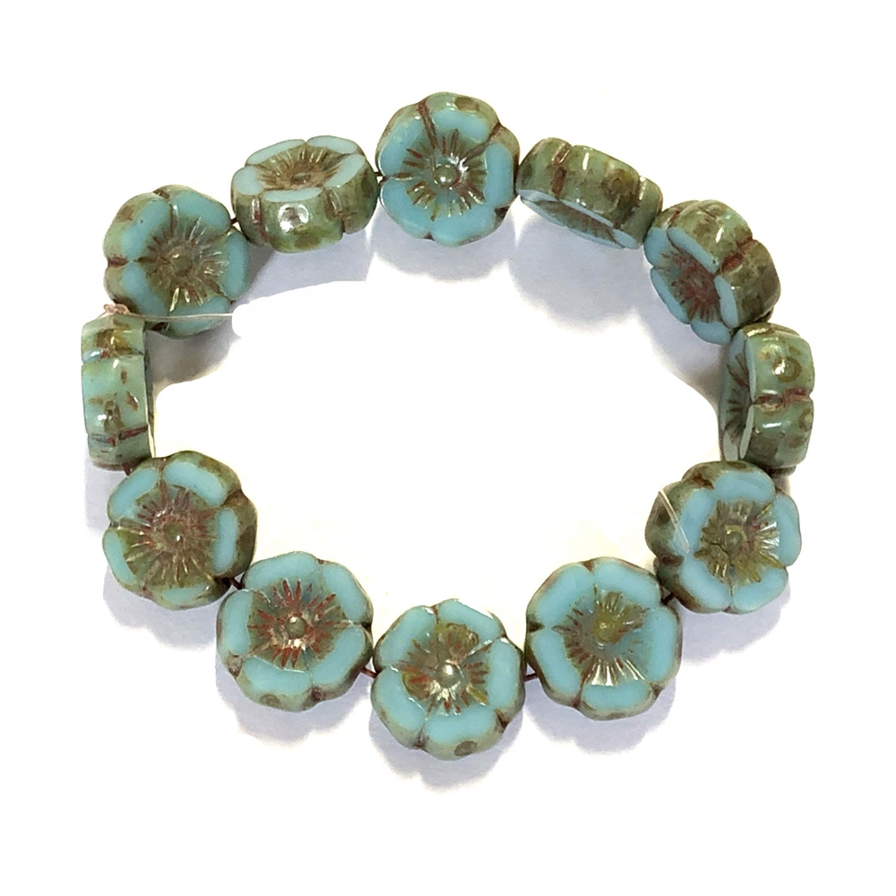 blue turquoise beads, hibiscus flower Picasso finish beads, beads, Czech glass beads, coin beads, Czech glass, Czech, glass beads, Picasso, drilled, glass beads, flower beads, US made, B'sue Boutiques, jewelry making, blue, green, 12mm, 09340