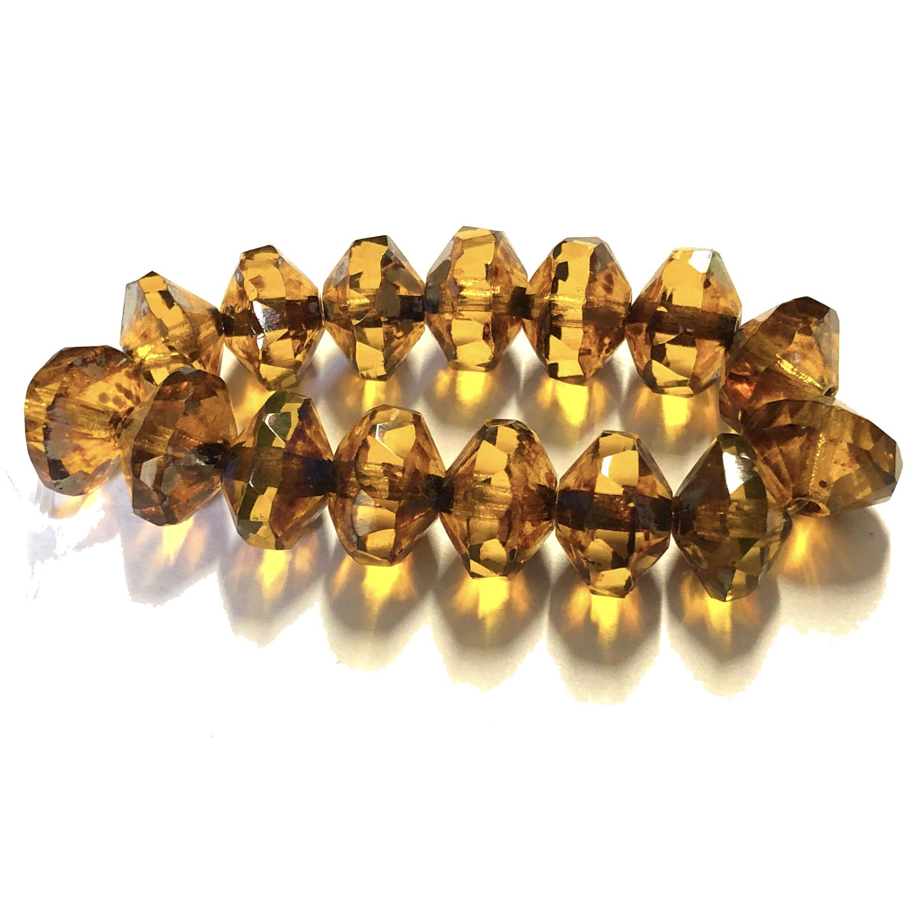 Saucer Amber Picasso finish beads, deep topaz, beads, Czech glass beads, saucer beads, fire polished, Czech, glass, Picasso, drilled, glass beads, topaz beads, US made, B'sue Boutiques, jewelry making, transparent amber, faceted beads, 7x11mm, 09342