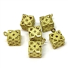 filigree bead pendant, brass bead, caged cube bead, hollow design, filigree, raw brass, unplated brass, 12mm, bead, cube style, pendant, US made, brass, metal bead, B'sue Boutiques, jewelry making, vintage supplies, jewelry findings,jewelry supplies,07671