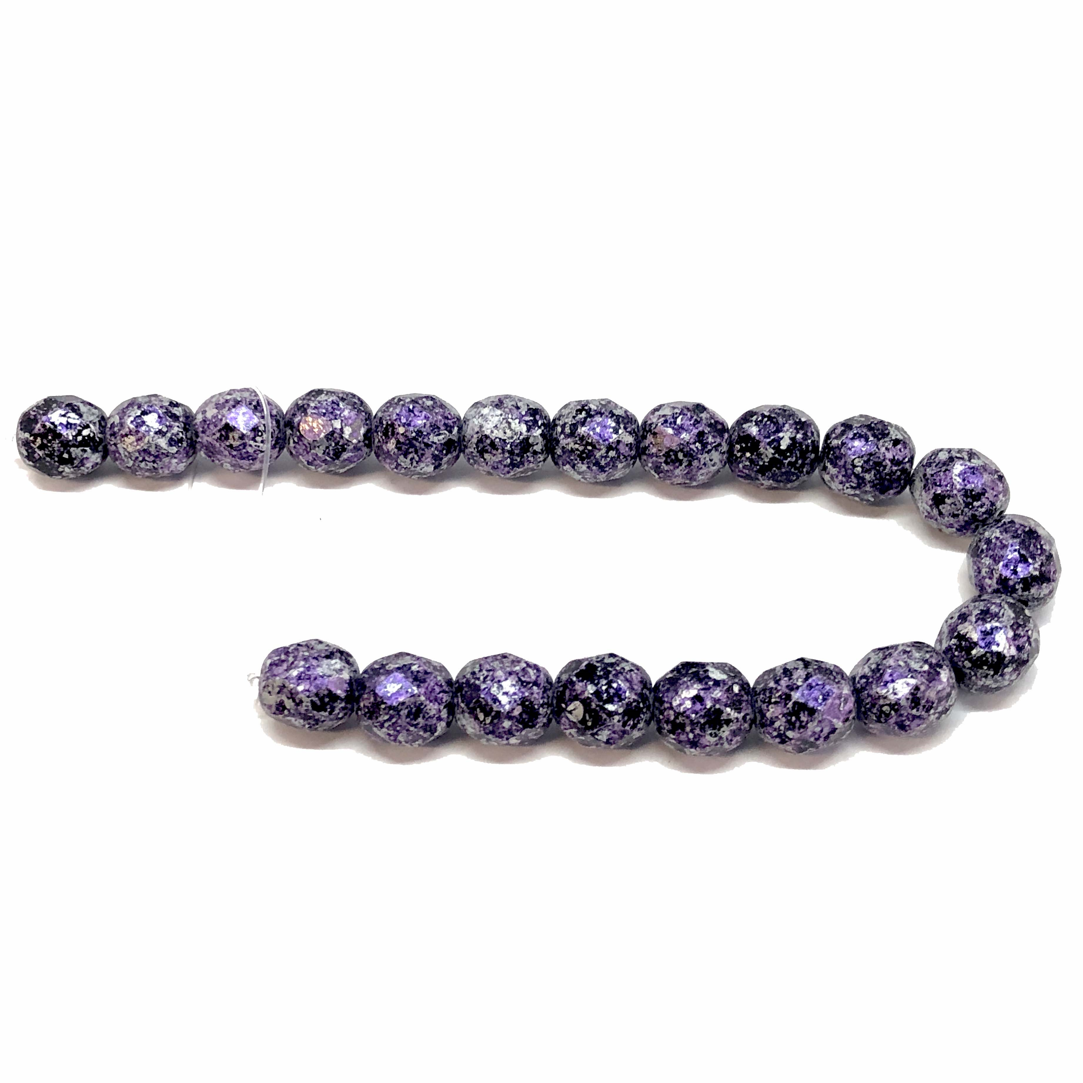 Czech Preciosa glass tweedy green beads, Czech glass beads, glass beads, beads, fire polished, tweedy violet, black and purple beads, faceted beads, beading supplies, jewelry making, B'sue Boutiques, temp strung bead, 8mm bead, 8mm, vintage beads, 09373