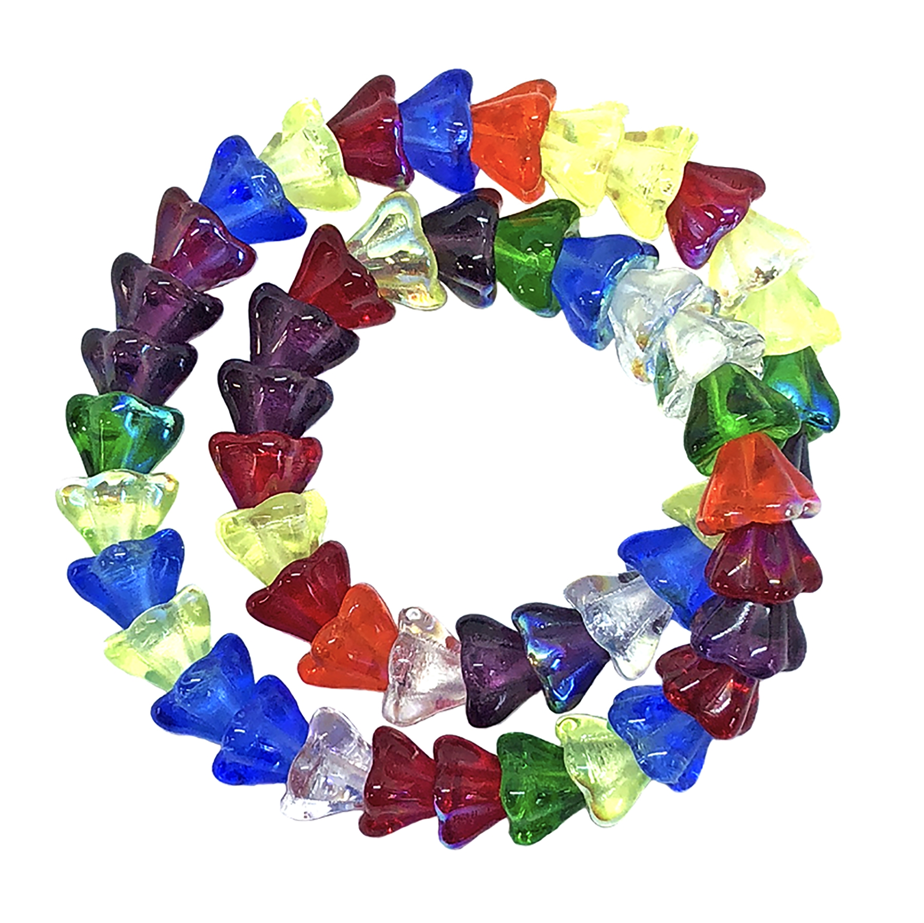 mix rainbow AB flower beads, flower beads, Czech glass beads, flower cone, rainbow, bell flowers, 6x8mm, assorted beads, beads, glass beads, amethyst, green, red, blue, clear white, mix rainbow beads, jewelry making, beading supplies, 09456