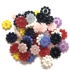 disc flowers beads, plastic, drilled flowers, 09459, B'sue Boutiques, US Made, vintage jewelry supplies, plastic flower beads, jewelry findings, beading supplies, mixed media jewelry, flower beads, beading supplies