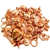 copper plated plastic beads, metalized beads, 09462, rose beads, plastic rose beads, vintage jewelry supplies, jewelry making supplies, fashion beads, copper tone, assorted beads, bead mixes, heart beads, faceted beads