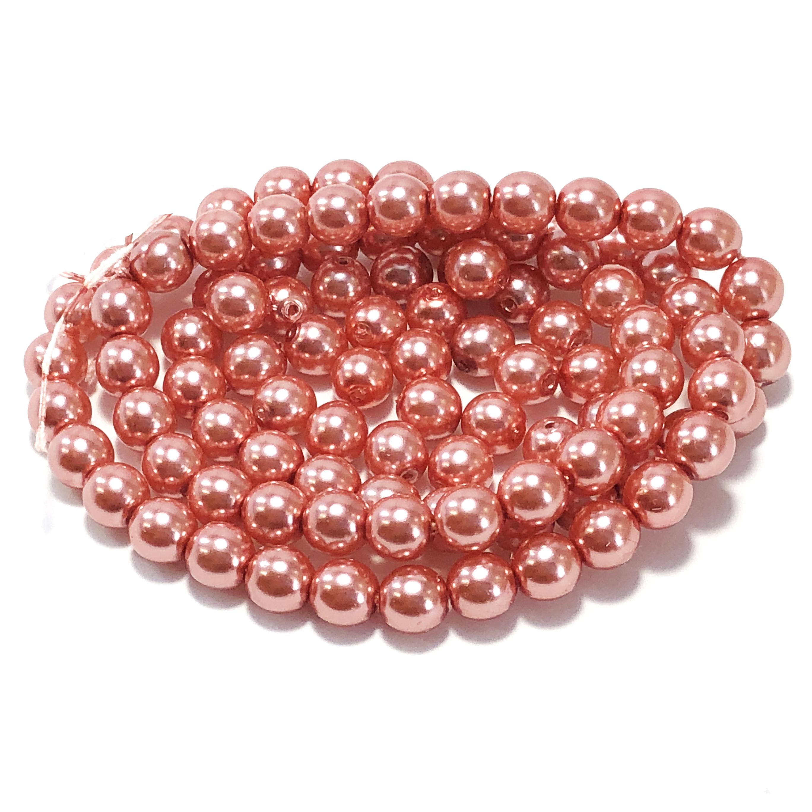 Salmon pearl beads, peachy pink pearl beads, 6mm bead, glass pearl, Czech, B'sue Boutiques, bead, jewelry making, beading supplies, vintage supplies, pearl, pearl beads, glass beads, peach beads, 09507