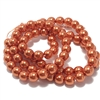 Copper pearl beads, burnt orange pearl beads, 6mm bead, glass pearl, Czech, B'sue Boutiques, bead, jewelry making, beading supplies, vintage supplies, pearl, pearl beads, glass beads, burnt orange beads, 09512