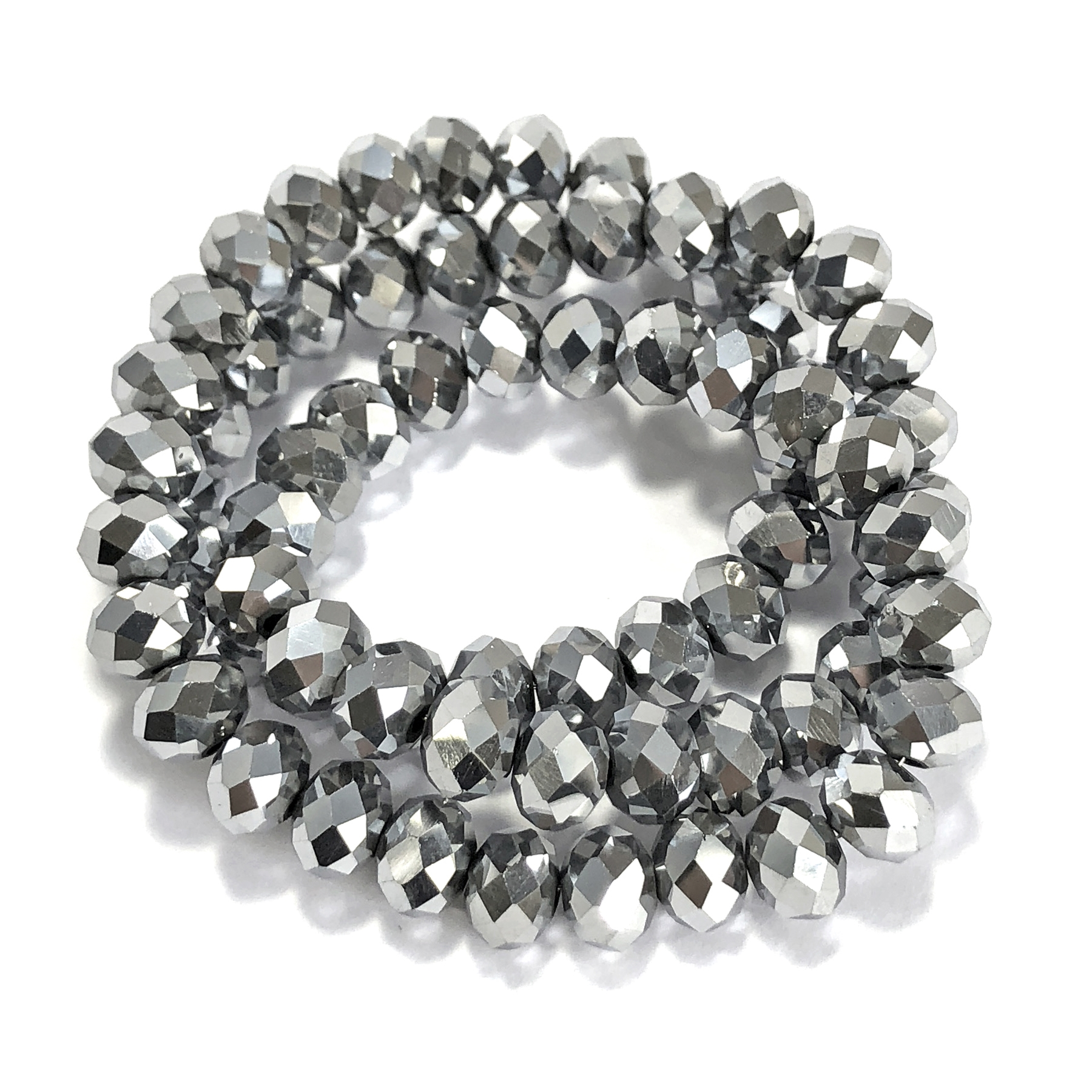 metallic silver rondelle beads, silver beads, rondelle beads, silver, faceted, glass beads, crystal glass, abacus beads, electroplate, metallic beads, 8x6mm, jewelry making beading supplies, jewelry supplies, vintage supplies, glass silver beads, 09514