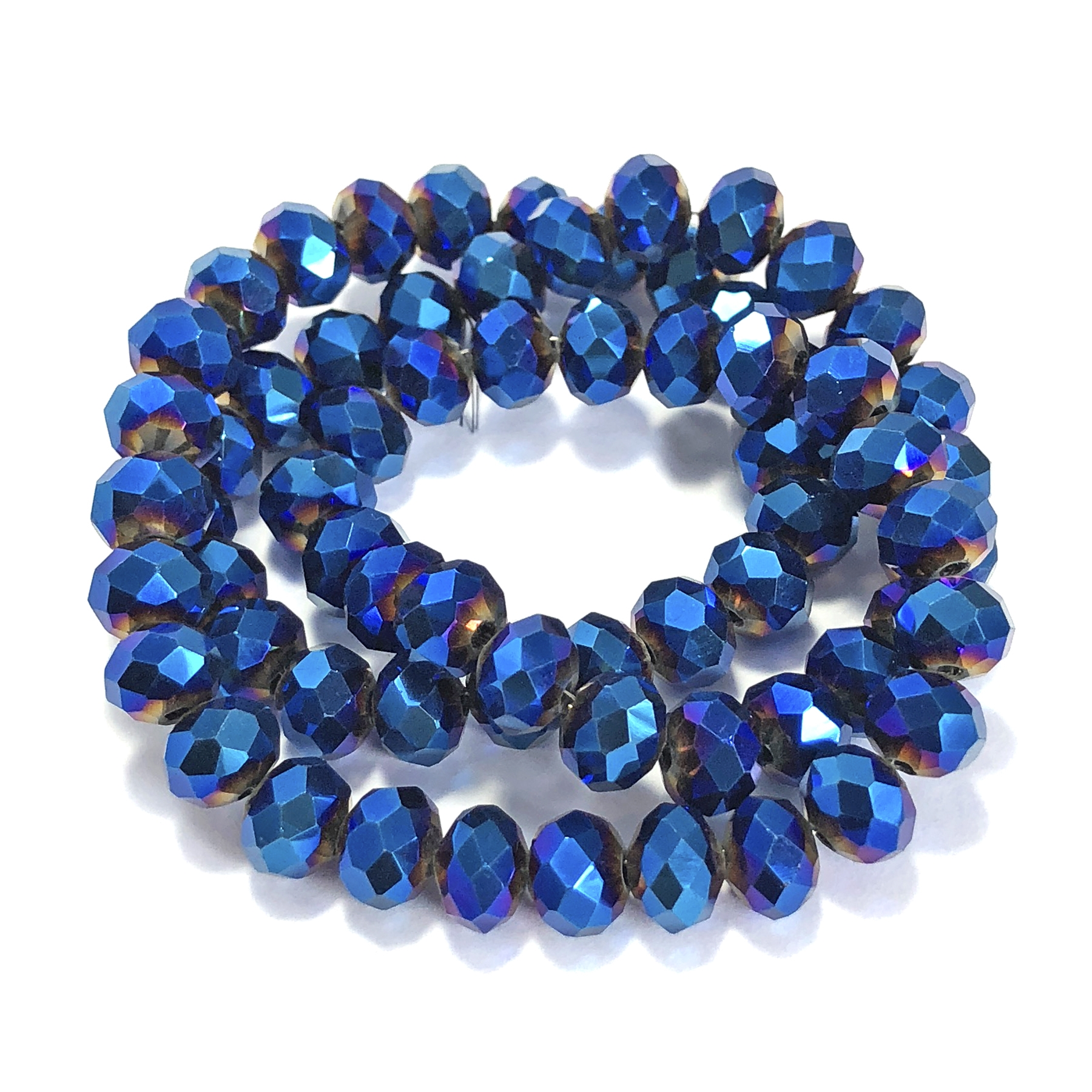 metallic cobalt rondelle beads, blue beads, rondelle beads, cobalt, faceted, glass beads, crystal glass, abacus beads, electroplate, metallic beads, 8x6mm, jewelry making beading supplies, jewelry supplies, vintage supplies, glass blue beads, 09515
