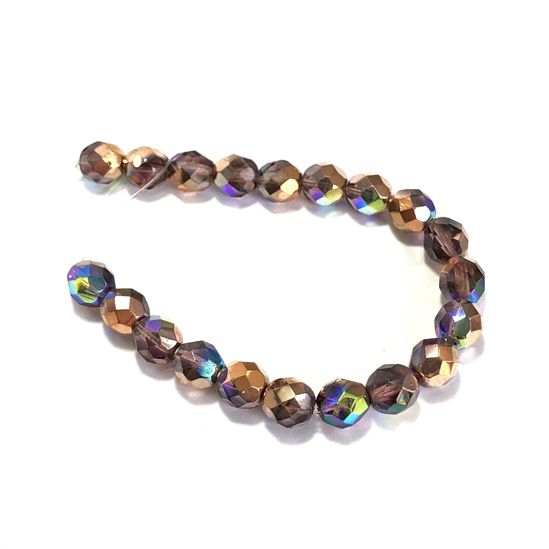 Czech glass amethyst copper rainbow beads, fire polished, amethyst copper, rainbow beads, glass beads, faceted beads, beading supplies, jewelry making, jewelry supplies, B'sue Boutiques, vintage supplies, crystal glass, amethyst beads, 8mm, 09518