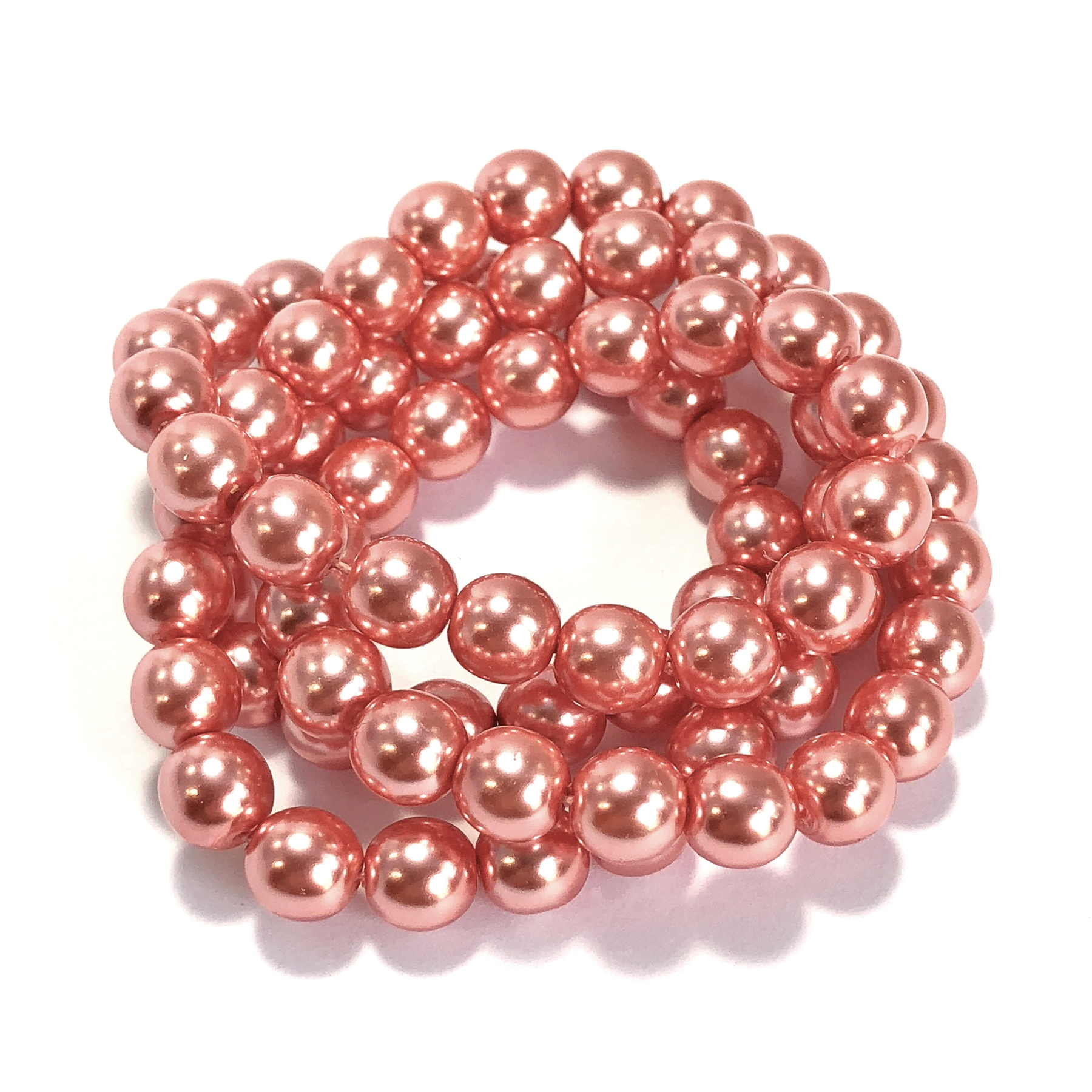 salmon pearl beads, peachy pink pearl beads, 8mm bead, glass pearl, Czech, B'sue Boutiques, bead, jewelry making, beading supplies, vintage supplies, pearl, pearl beads, glass beads, peach beads, jewelry supplies, jewelry beads, 09522