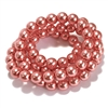 coral pearl beads, coral pink pearl beads, 8mm bead, glass pearl, Czech, B'sue Boutiques, bead, jewelry making, beading supplies, vintage supplies, pearl, pearl beads, glass beads, jewelry supplies, jewelry beads, coral beads, 09526