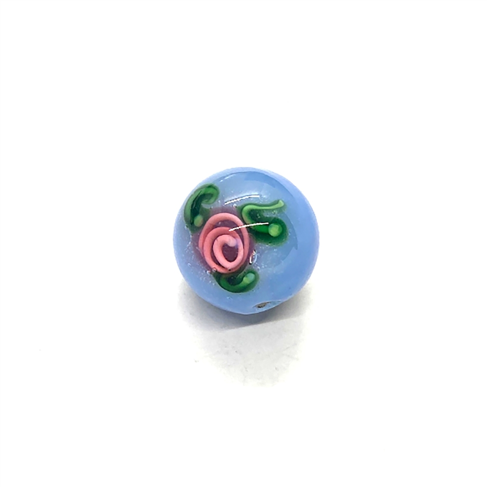 lampwork beads, German glass, rosebud, blue, blue lampwork beads, 14mm, beads made by hand, lamp glass, blue rosebud bead, glass rose bead, rose, blue rose, pink rose, blue and pink, old vintage glass, vintage glass beads, B'sue Boutiques, lampwork,