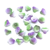 Mini Bell Flower Beads, Czech Glass Beads, 09556, flower cup beads, lilac bouquet, bell flowers, 5x7mm, assorted beads, beads, glass beads, flowers, floral beads, beading supplies, jewelry supplies, purple, green, white