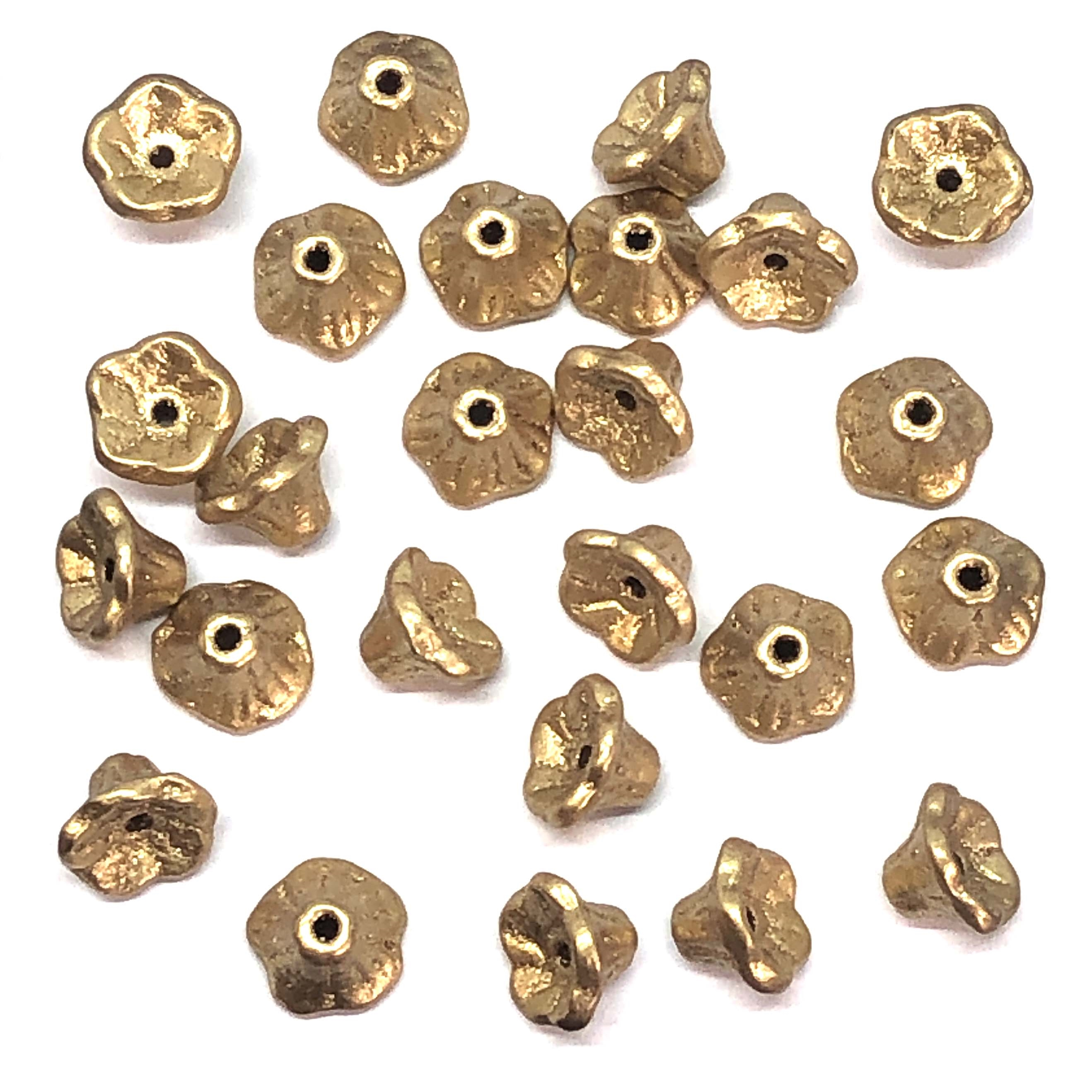 Mini Bell Flower Beads, Czech Glass Beads, 09564, flower cup beads, aztec gold, bell flowers, 5x7mm, assorted beads, beads, glass beads, metallic beads, flowers, floral beads, beading supplies, jewelry supplies, metallic gold