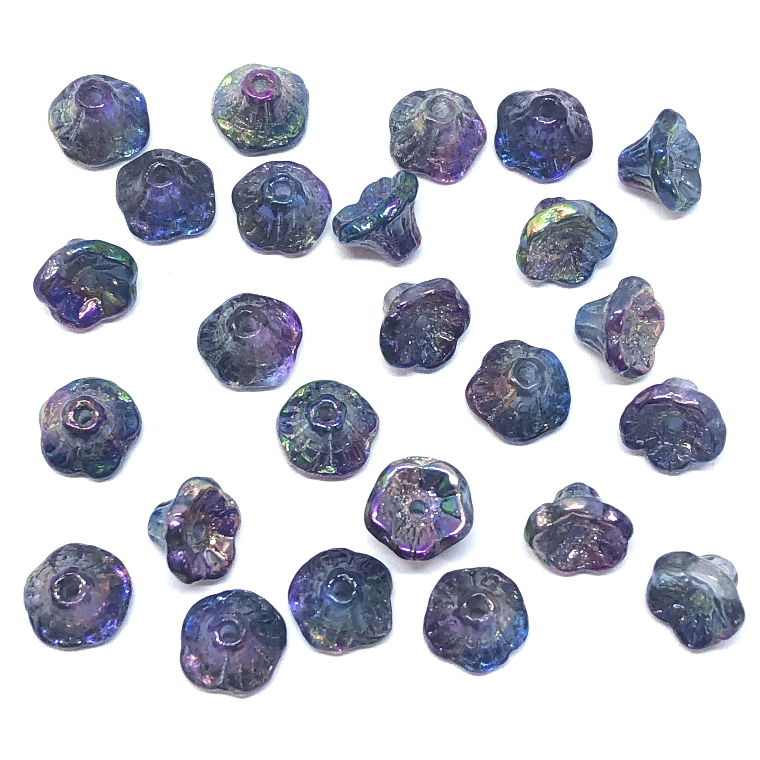 Mini Bell Flower Beads, Czech Glass Beads, 09566, flower cup beads, mermaid dreams, bell flowers, 5x7mm, assorted beads, beads, glass beads, iridescent beads, flowers, floral beads, beading supplies, jewelry supplies, blue, ab, purple