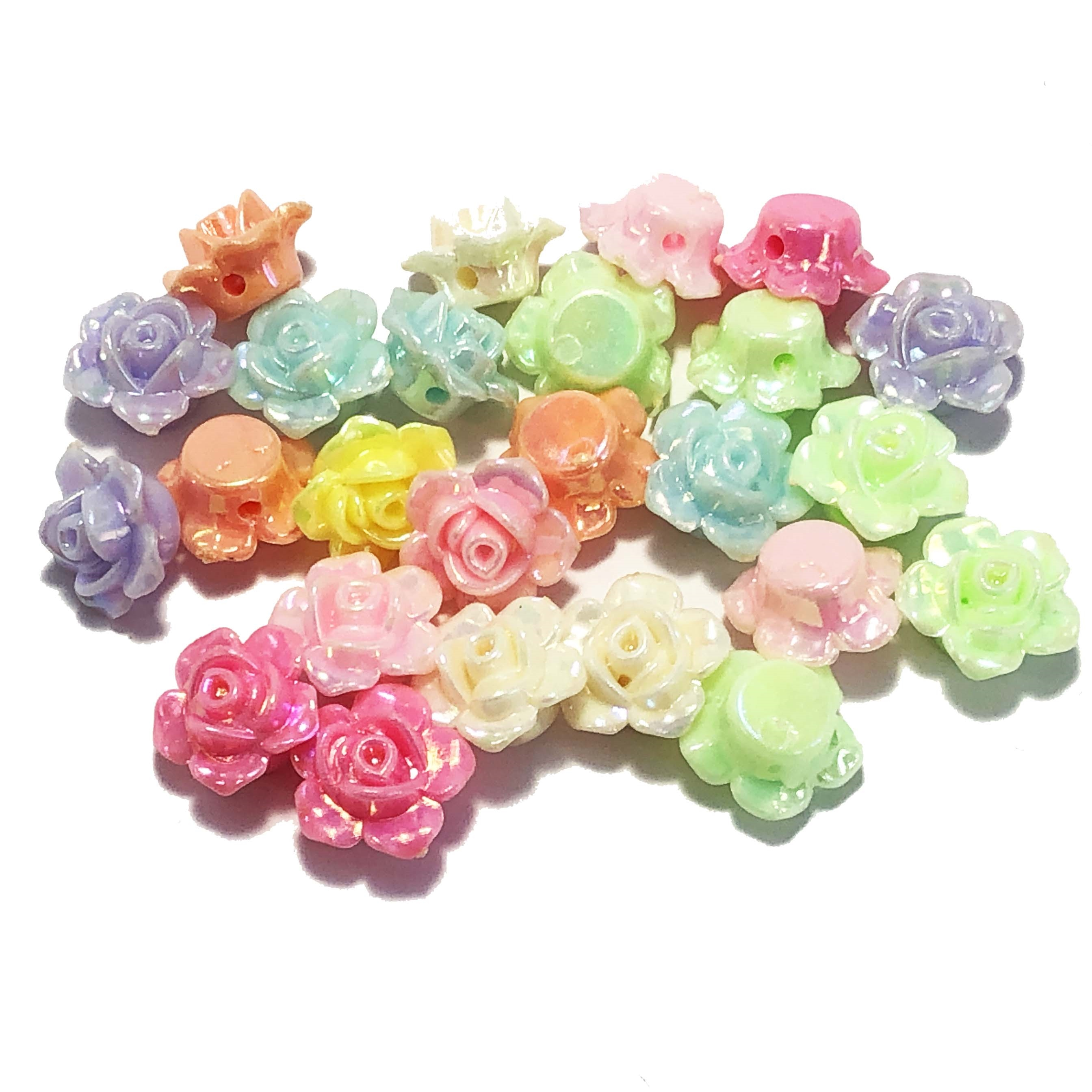 opaque acrylic beads, multi-color, flowers, 09583, acrylic, plastic rose beads, 13mm rose beads, 13mm, molded beads, carved rose, B'sue Boutiques, jewelry supplies, jewelry making, iridescent, AB beads, aurora borealis