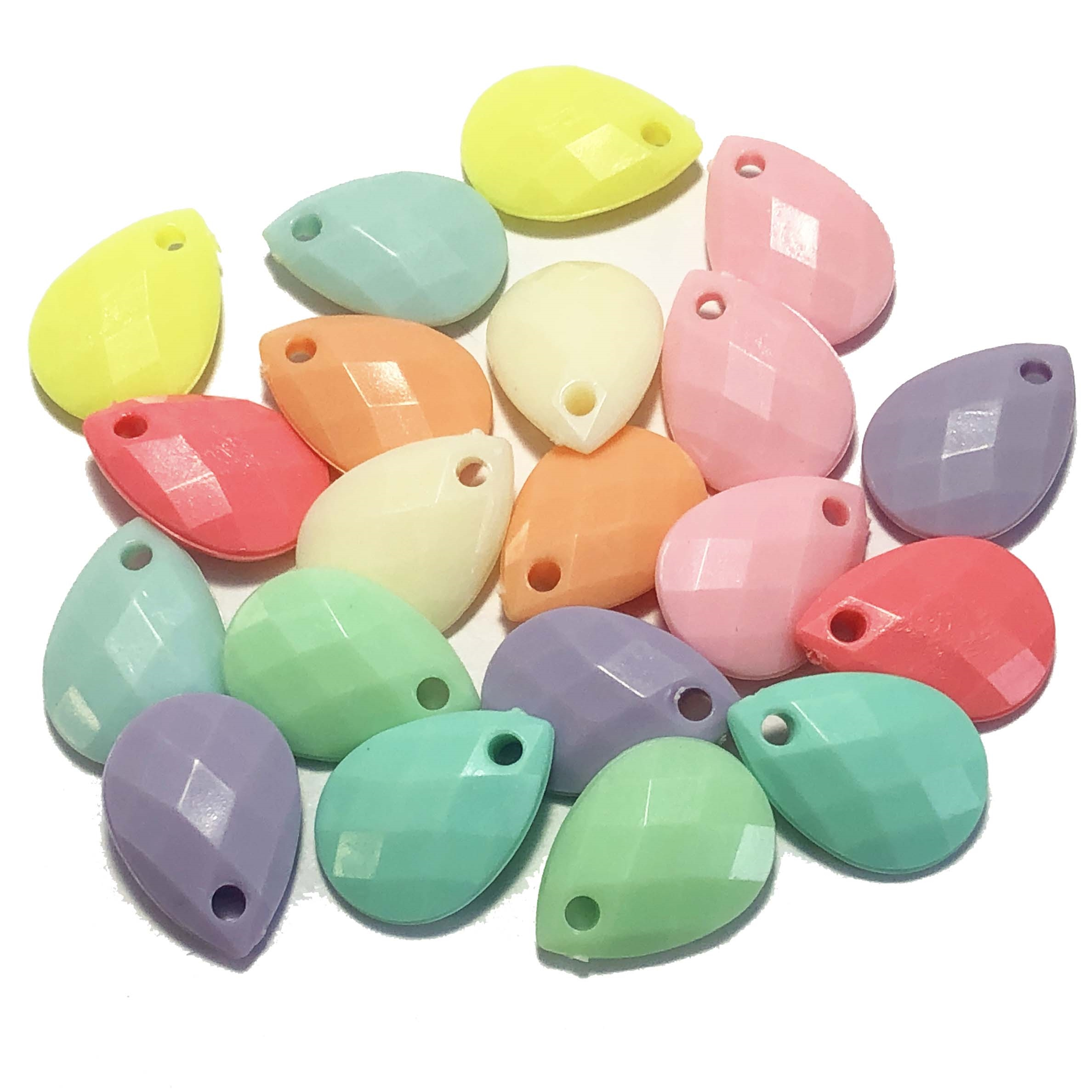 opaque acrylic drop pendants, multi-color, 09584, acrylic, plastic beads, 18x12mm, teardrop beads, B'sue Boutiques, jewelry supplies, jewelry making, beads, faceted teardrops, pastel colors
