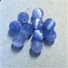 Blue cat's eye beads, glass beads, fiber optic glass, glass, cat's eye, blue beads, cabochon, round, glossy shine, faceted beads, US made, B'sue Boutiques, jewelry stone, 8mm, 09728