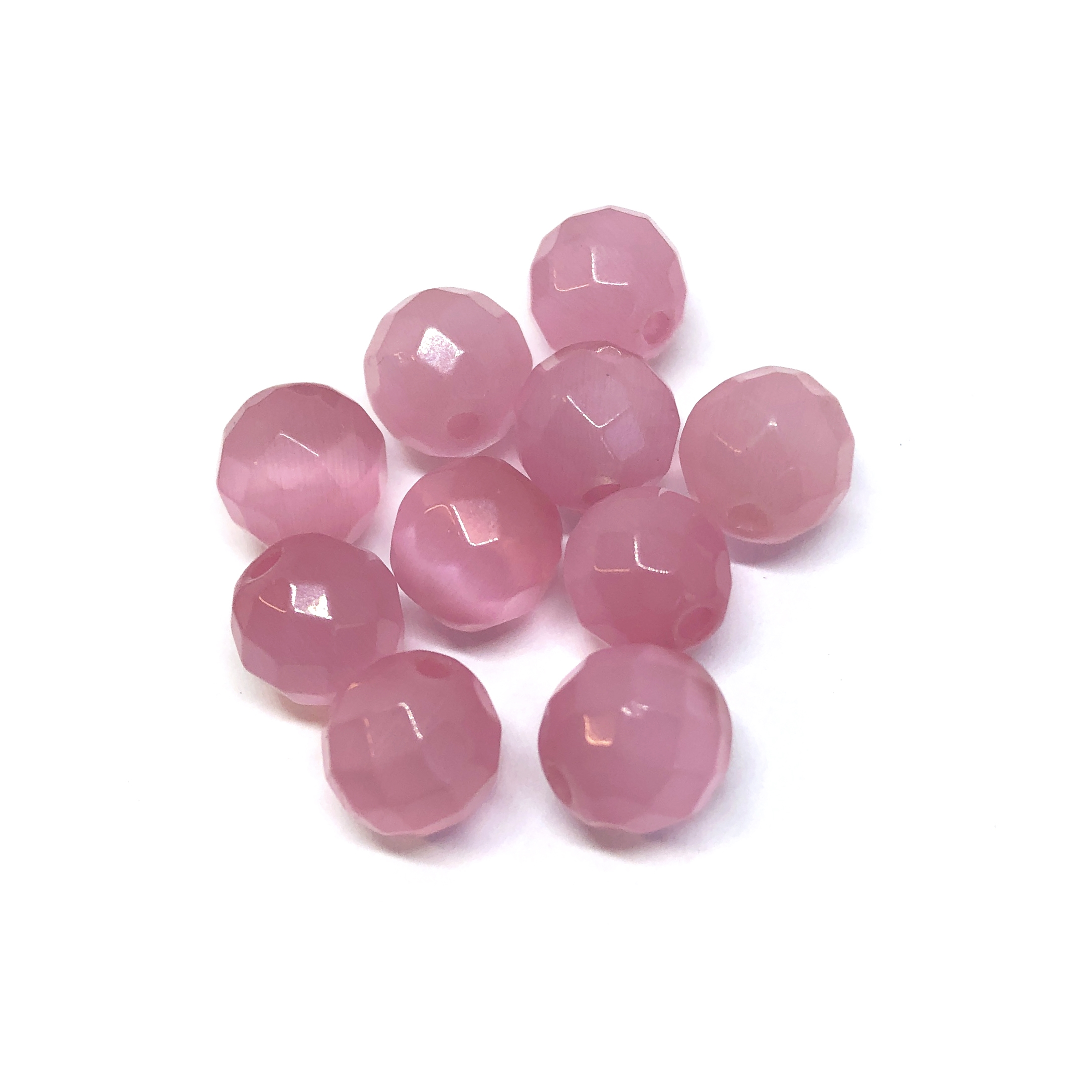 Pink cat's eye beads, glass beads, fiber optic glass, glass, cat's eye, pink beads, cabochon, round, glossy shine, faceted beads, US made, B'sue Boutiques, jewelry stone, 8mm, 09731