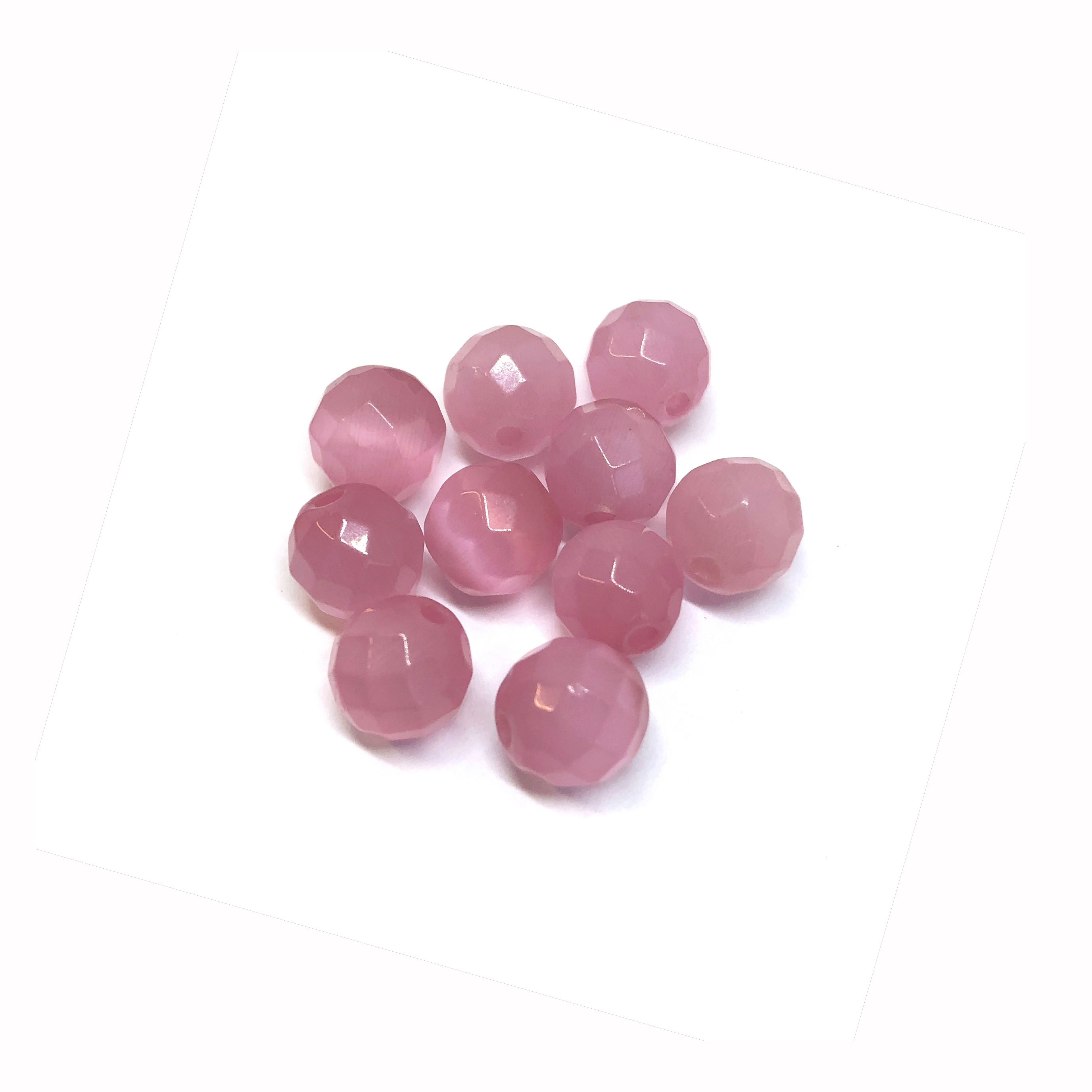 Pink cat's eye beads, glass beads, fiber optic glass, glass, cat's eye, pink beads, cabochon, round, glossy shine, faceted beads, US made, B'sue Boutiques, jewelry stone, 6mm, 09732