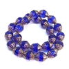 sapphire gold cathedral beads, glass beads, saucer beads, glass, oval beads, drilled, glass beads, sapphire gold beads, gold, blue, US made, B'sue Boutiques, jewelry making, 10x8mm, cathedral beads, vintage supplies, jewelry supplies, beads, 09781
