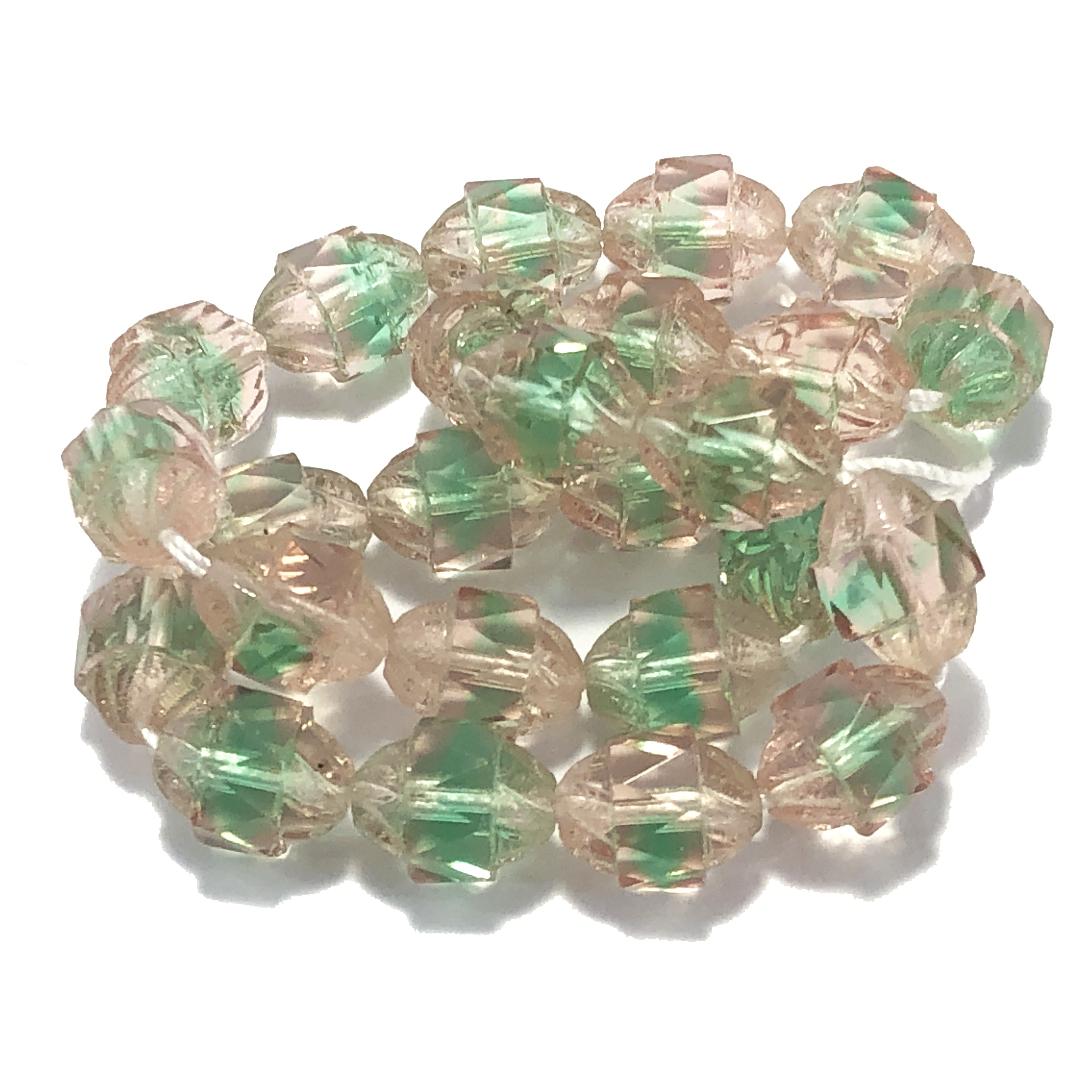 turbine beads, Czech glass beads, saucer beads, Czech glass, oval beads, drilled, glass beads, lime green, peachy pink, US made, B'sue Boutiques, jewelry making, 10x8mm, faceted beads, vintage jewelry supplies, 09784