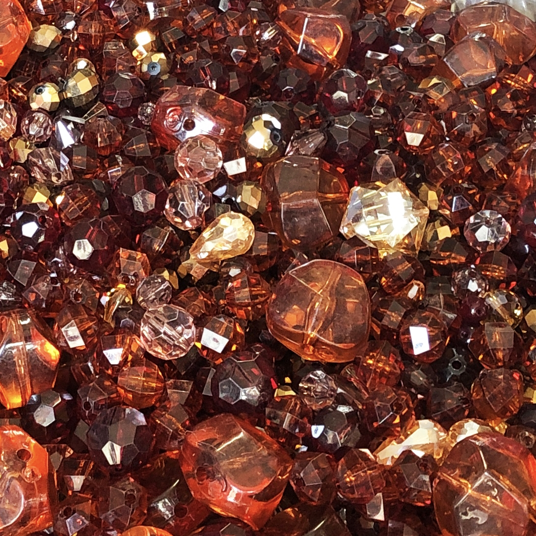 vintage beads, smoked topaz, Colorado topaz, garnet beads, bead mix, lucite, acrylic, old plastics, vintage plastic beads, designer beads, assorted beads, mixed beads, dark topaz, vintage, B'sue Boutiques, chunky beads, glass beads, 09847