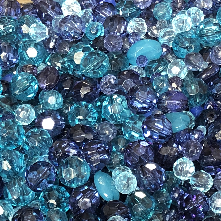 bead mix, designer beads, acrylic beads, colorful beads, designer quality beads, plastic beads, crystal Zircon beads, teal beads, assorted beads, mixed beads, Montana blue beads, beading supplies, B'sue Boutiques, 09850