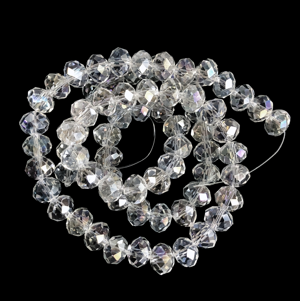 clear crystal glass beads, faceted rondelle beads, clear crystal ab beads, crystal beads, rondelle beads, clear, 8mm, 70 pieces, round, glass, transparent, crystal glass, beading supplies, vintage supplies, jewelry making, B'sue Boutiques, 09857