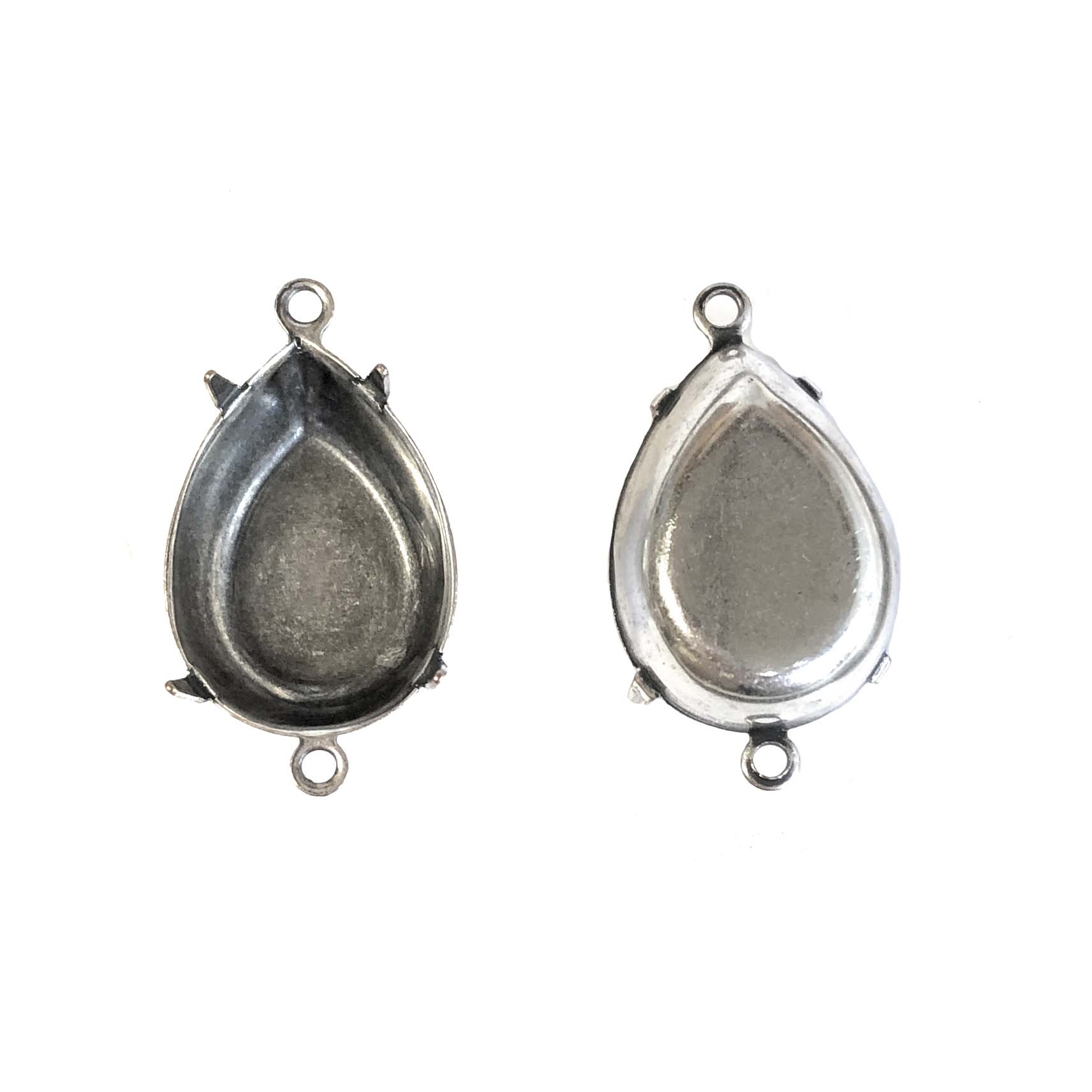 brass bezel connector, pendant, cameo mount, stone mount, 01010, silverplate mount, silver, silverplate, silverware, teardrop mount, teardrop, stone set, pear shape, connectors, bezels, silver bezel, silver connector, 18x13mm