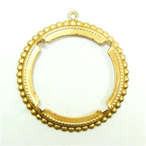 Brass Bezel, Pendant Bezel, Four Pronged Bezel, Backless Design, Raw Brass, US Made, 40mm