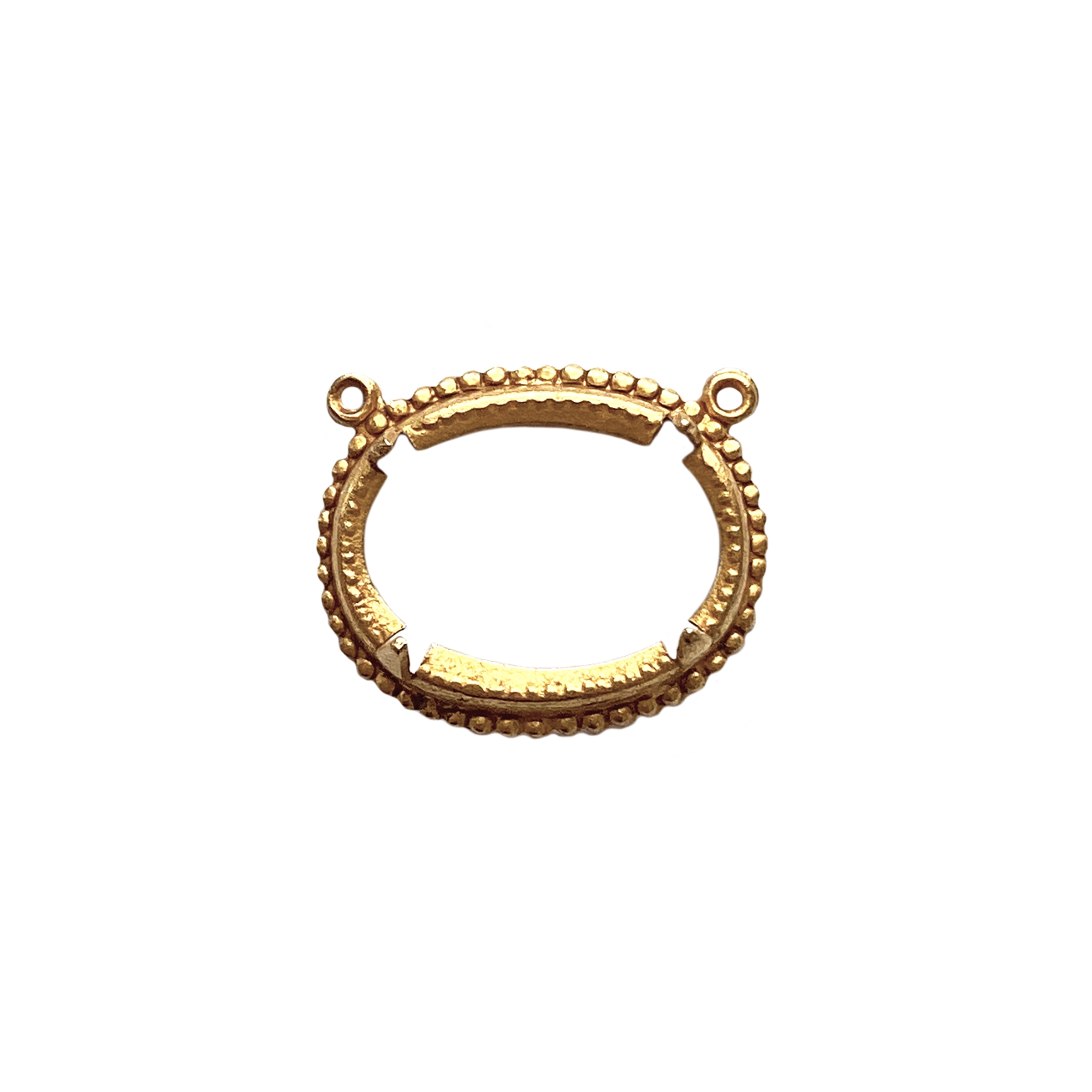 rope design backless bezel pendant, pendant, classic gold finish, bezel, bezel pendant, rope design, gold, backless bezel, brass, 18x13mm mount, US-made, nickel-free, jewelry supplies, vintage supplies, bezel pendant, B'sue Boutiques, classic gold, 01703