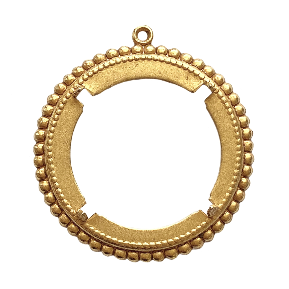 beading edge bezel mount, pendant mount, bezel, mount, backless bezel, classic gold finish, gold, classic gold, jewelry mount, beading edge mount, four-pronged, 30mm mount, jewelry making, vintage supplies, jewelry supplies, pendant bezel, 01707