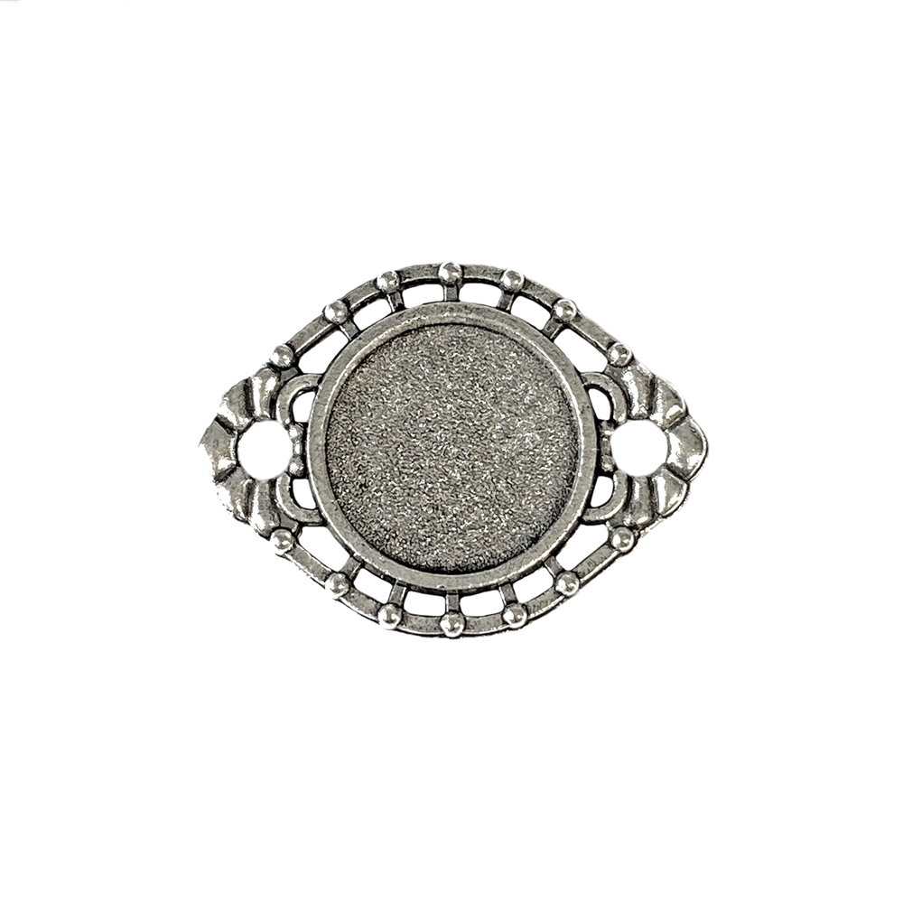 oval connector, antique silver, zinc alloy, antique silver finish, 14mm mount, jewelry connector, connector mount, bezel,  jewelry findings, jewelry making, jewelry supplies, mount connector, B'sue Boutiques, mount, connector bezel, round mount, 02979