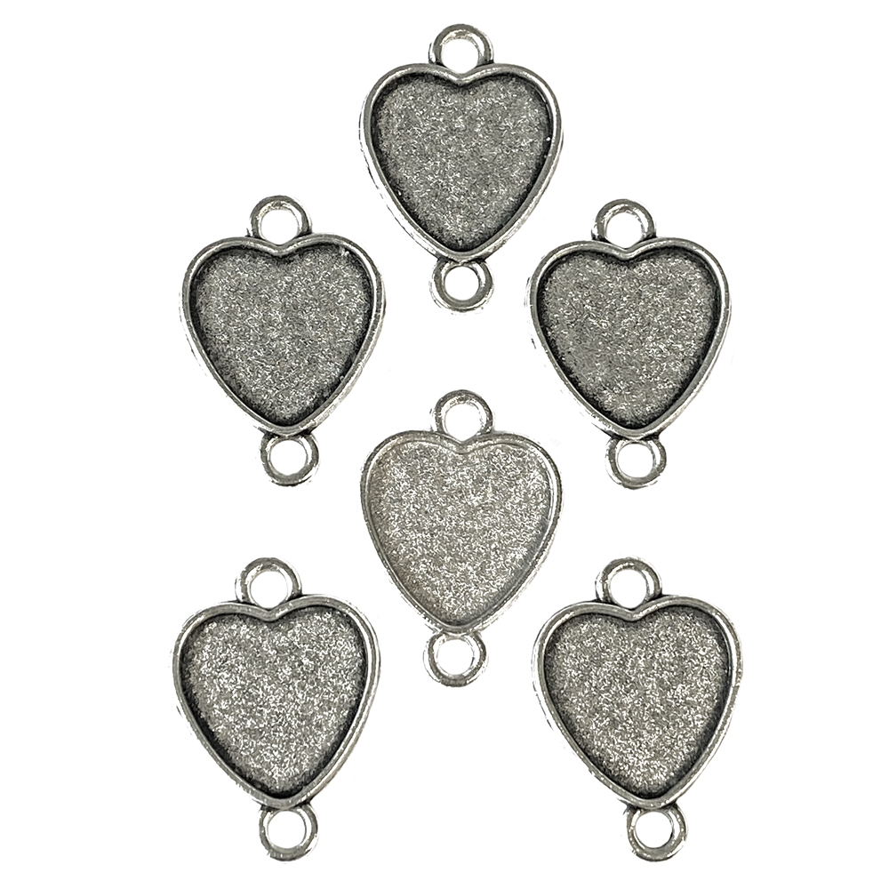 heart bezel connectors, antique silver, heart mounts, heart connectors, hearts, heart bezels, connectors, jewelry heart, bezels, mounts, jewelry making, vintage supplies, 16x15mm mount, jewelry supplies, jewelry findings, heart jewelry, 02981