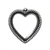 heart shaped bezel pendant, silverware silverplate, antique silver, backless heart, heart mount, heart bezel, rope design heart, backless bezel, bezel, jewelry making, jewelry supplies, silver, B'sue Boutiques, vintage supplies, 03562, pendant