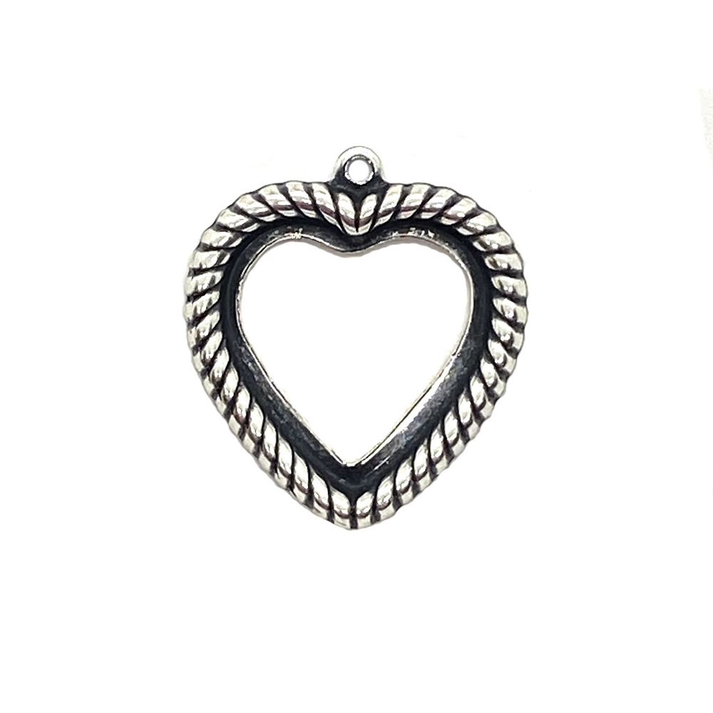 heart shaped bezel pendant, silverware silverplate, antique silver, backless heart, heart mount, heart bezel, rope design heart, backless bezel, bezel, jewelry making, jewelry supplies, silver, B'sue Boutiques, vintage supplies, 03563, pendant