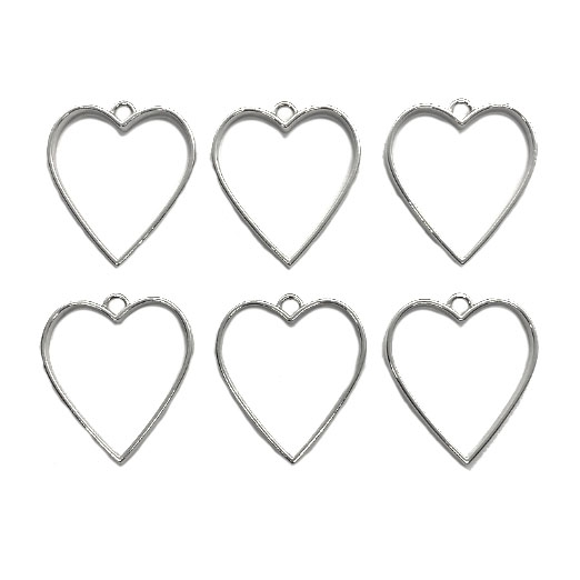backless bezel, heart, silvertone, 03925 backless heart, heart pendant, heart bezel, jewelry making, jewelry supplies, B'sue Boutiques, silvertone bezel, silverx heart, silver tone, set of 6, resin bezels