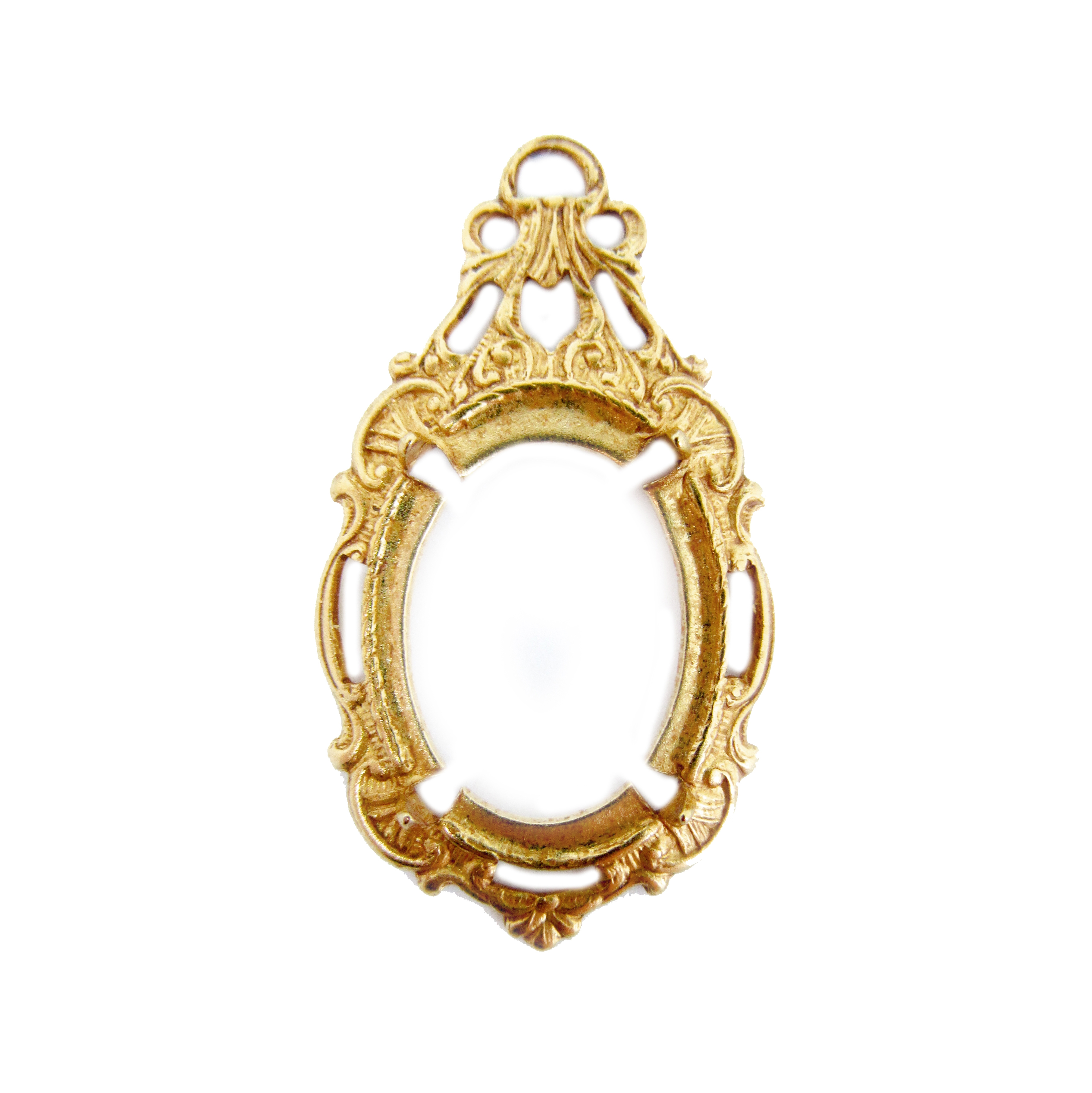 victorian style bezel, pendent design, classic gold plated, brass, victorian, bezel, pendent, 18x13mm, backless bezel, mount, us made, nickel free, B'sue Boutiques, vintage supplies, jewelry supplies, jewelry making, jewelry findings, 04995