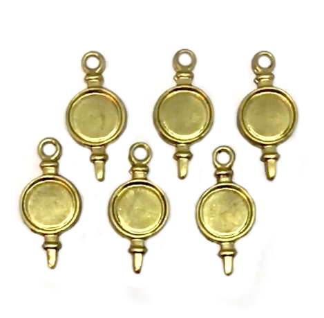 Ear Drop, Brass Bezel, Raw Brass 05567, Small bezel, 8mm mount, bezel, bezels, mounts, charm, jewelry making, jewelry supplies, B'sue Boutiques, charms, ear drops, earrings, unplated brass