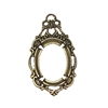 victorian style bezel, pendent design, brass ox, antiques brass, brass, victorian, bezel, pendent, 18x13mm, backless bezel, mount, us made, nickel free, B'sue Boutiques, vintage supplies, jewelry supplies, jewelry making, jewelry findings, 0572