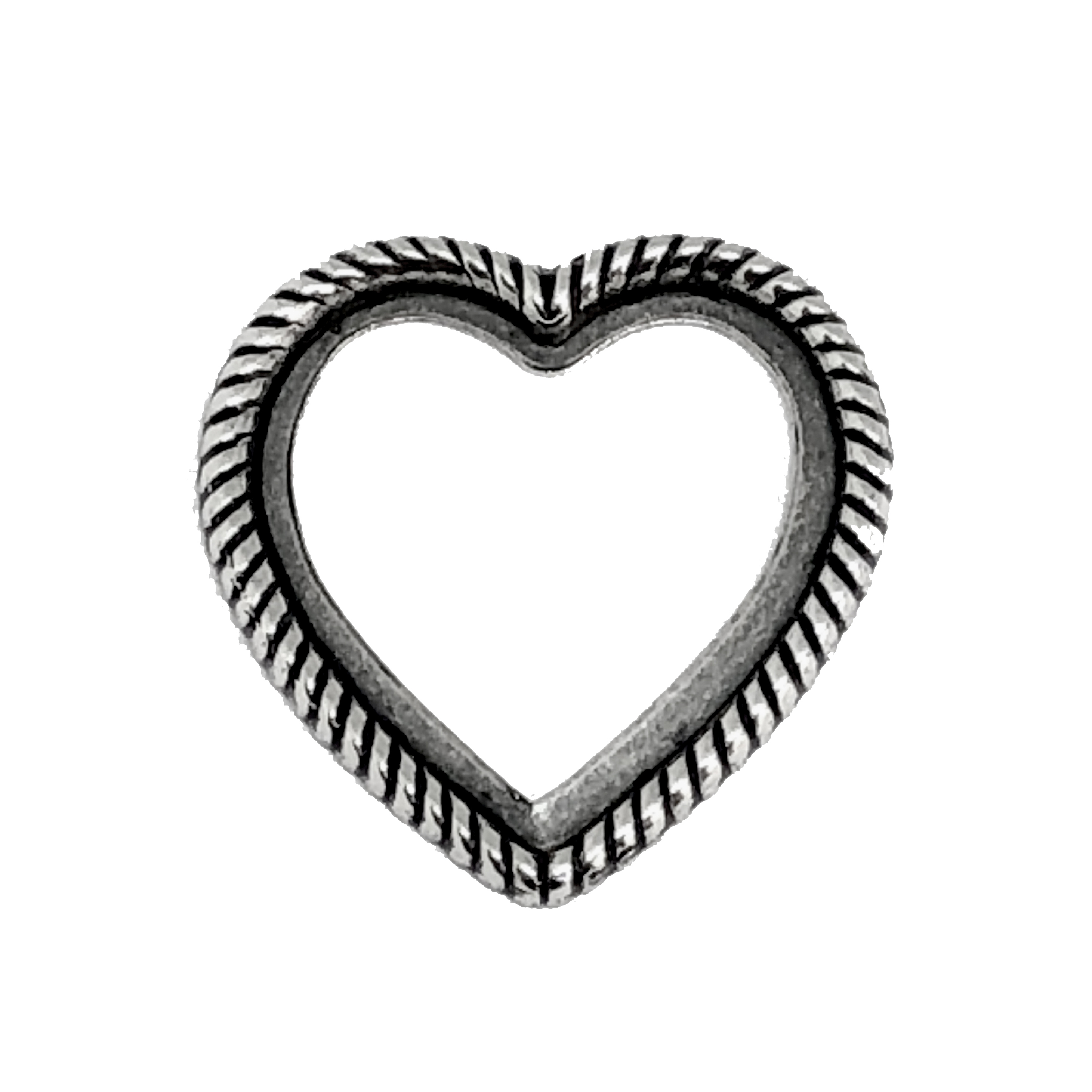 heart shaped bezel, silverware silverplate, antique silver, backless heart, heart mount, heart bezel, rope design heart, backless bezel, bezel, jewelry making, jewelry supplies, 26mm mount, silver, B'sue Boutiques, vintage supplies, 05953