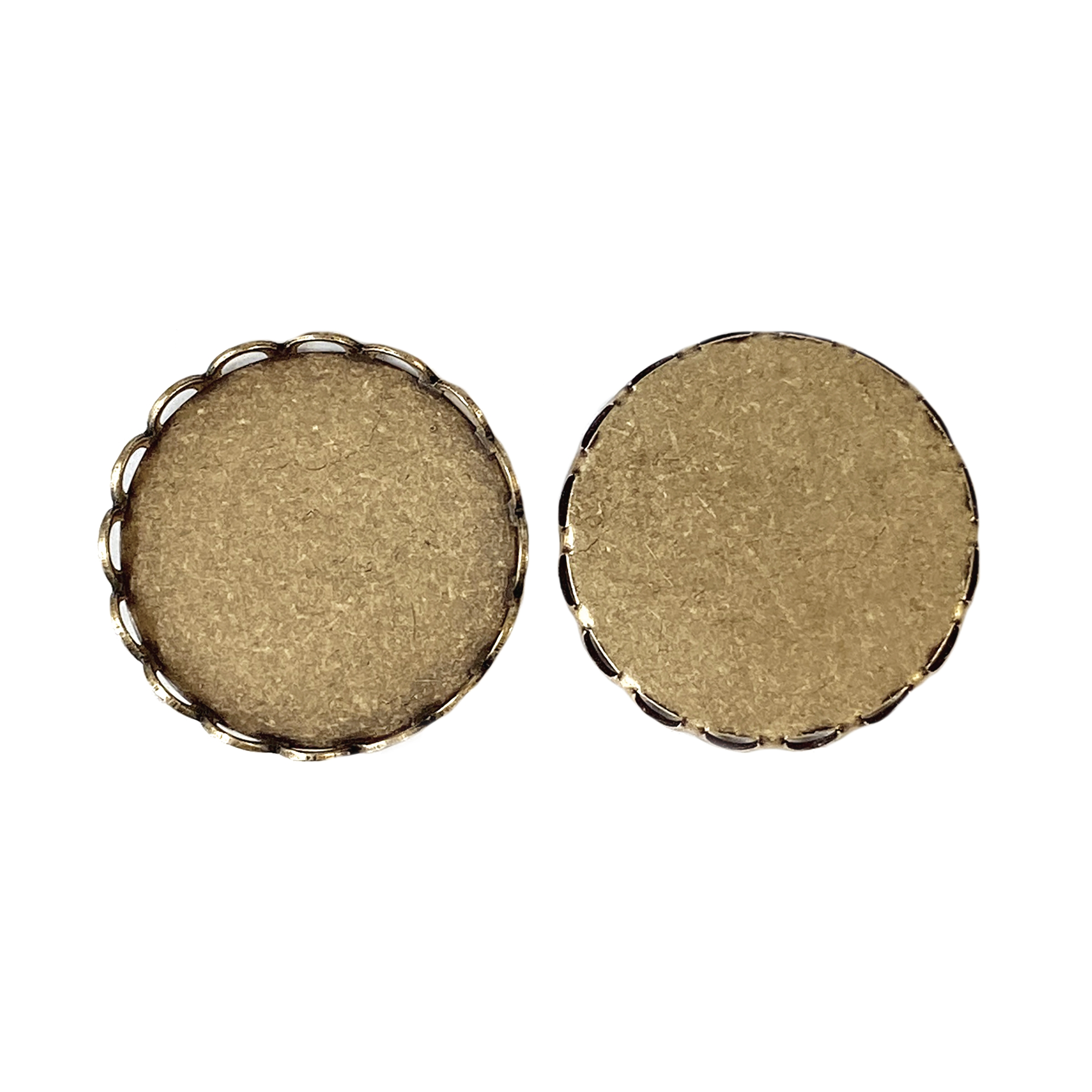 Brass Bezel, Lacy Edge Style, 3mm Wall, Brass Ox, 18mm Mount