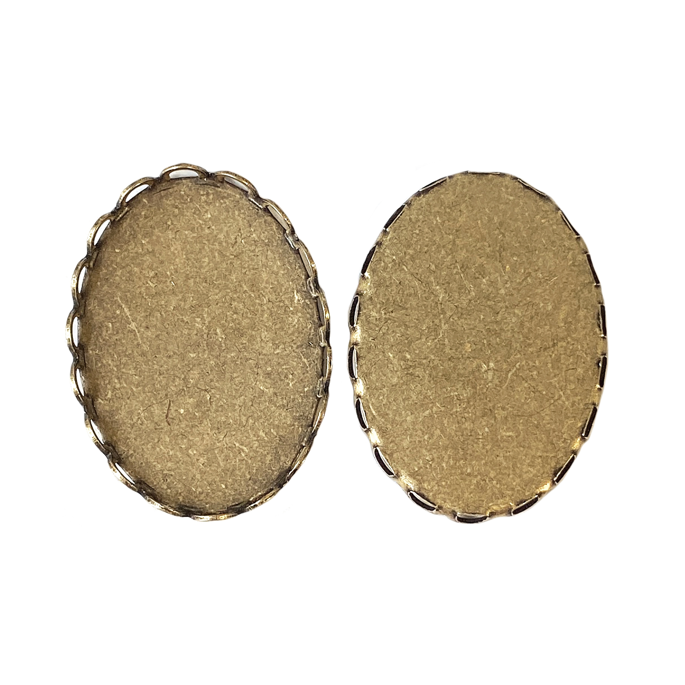 brass ox bezel, oval, 06474, 25x18mm, oval bezel, jewelry supplies, jewelry making, B'sue Boutiques, brass ox, antique brass, oval bezel, lace, lacy bezel, lacy edge, scalloped bezel