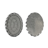 bezel, silverware silverplate, 06702, lacy edge, 25 x 18mm, mount, silver bezel, oval bezel, oval mount