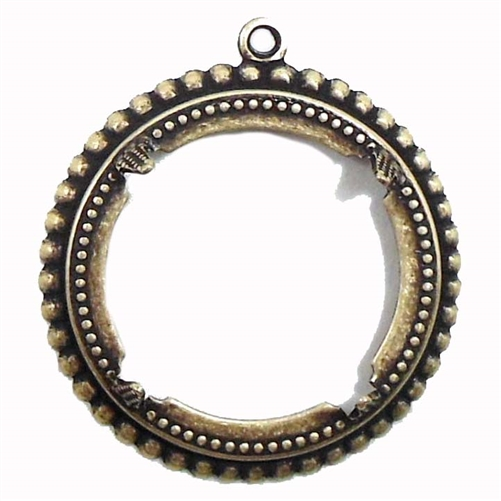 brass bezel, backless bezel, brass pendant, 07077, vintage jewelry supplies, jewelry making supplies, brass ox, antique brass, bsue boutiques, nickel free, US made, 25mm