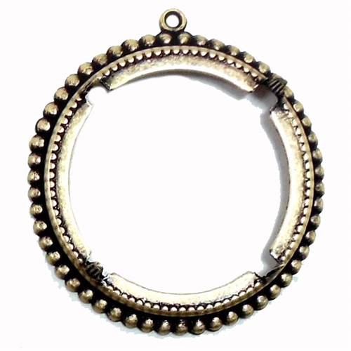 brass ox bezel, round bezel, 07081, pronged bezel, open back bezel, mount, bezel, jewelry supplies, jewelry making, B'sue Boutiques, round mount, brass ox mount