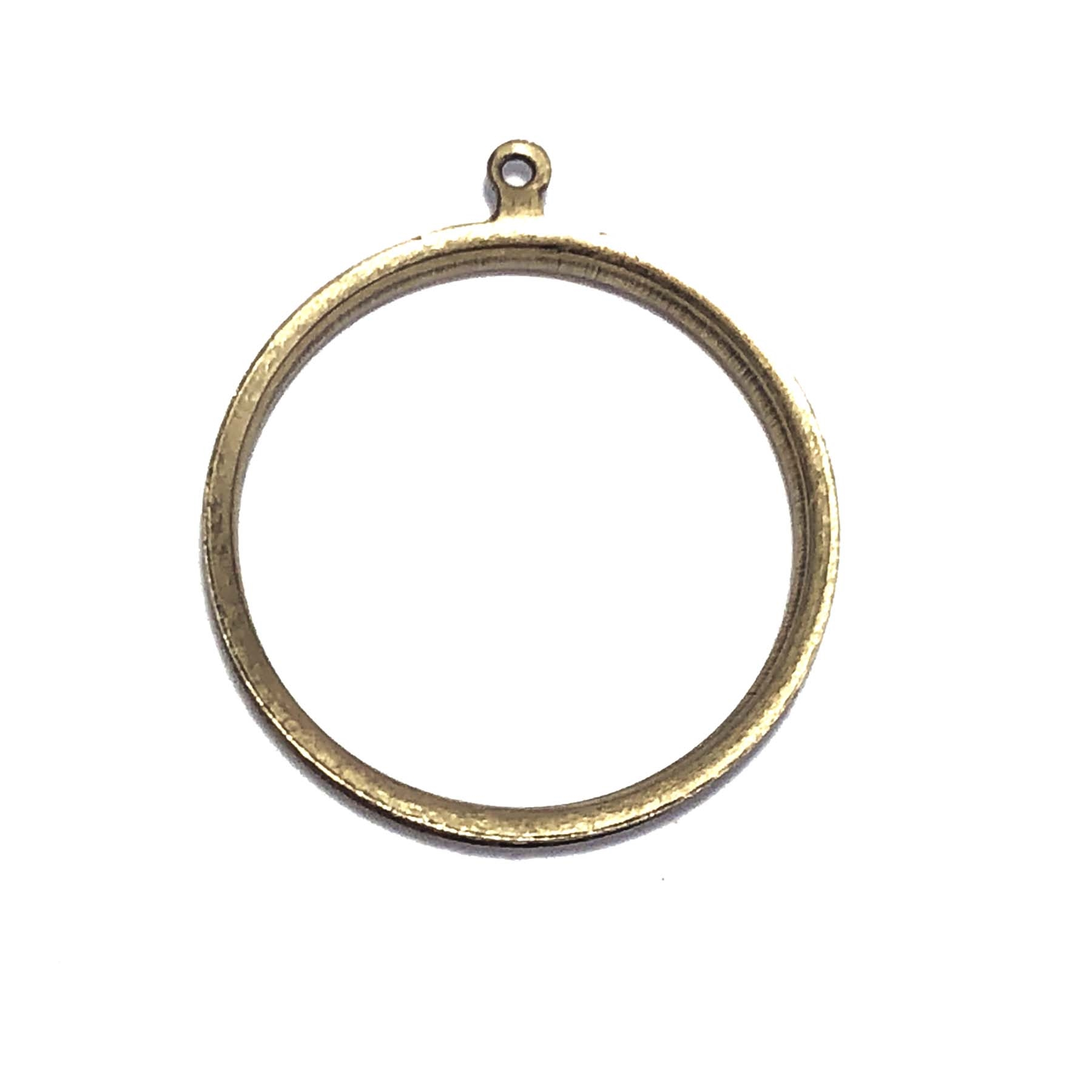 round open back bezel, round open back bezel with edge channel, pendant, backless pendant, vintage supplies, jewelry supplies, brass jewelry parts, jewelry making, B'sue Boutiques, nickel free, brass ox, antique brass, 32x28mm, bezel, 0755