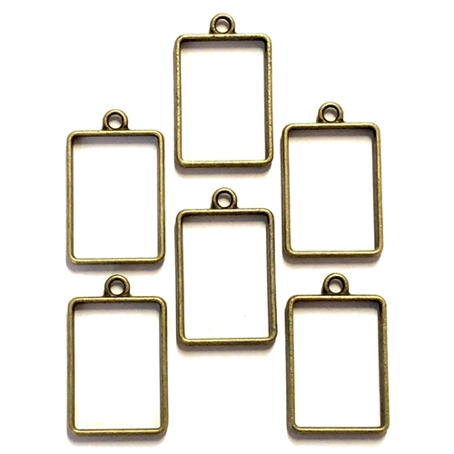 open back bezel, backless rectangular, bronze, 08238, rectangular pendant, backless pendant, vintage jewelry supplies, brass jewelry parts, jewelry making supplies, Bsue Boutiques, nickel free, bronze