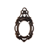 victorian style bezel, pendent design,rusted iron, brass, victorian, bezel, pendent, 18x13mm, backless bezel, mount, us made, nickel free, B'sue Boutiques, vintage supplies, jewelry supplies, jewelry making, jewelry findings, 08624